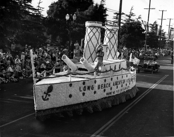 American Legion parade, float in the shape of a ship from the American Legion of Long Beach