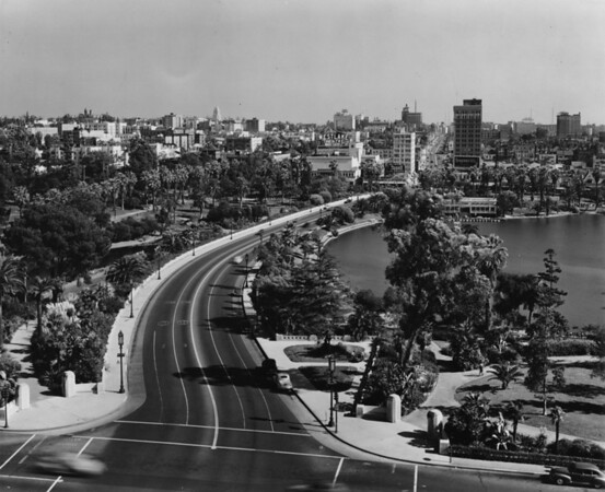 MacArthur Lake in MacArthur Park facing east along Wilshire Boulevard from South Park View Street towards Alvarado Street and the Westlake Theater
