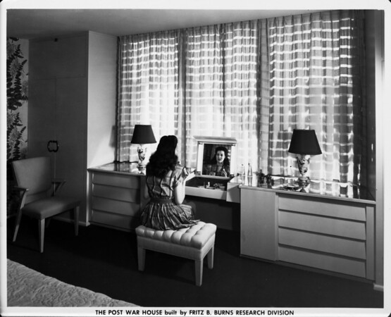 The Post War House built by Fritz B. Burns Research Division, interior dressing area of 1948