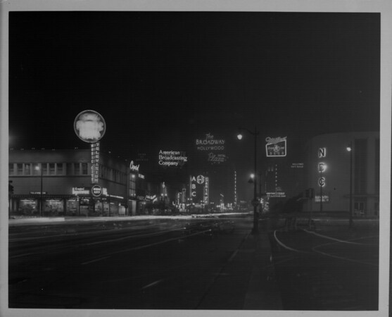 Hollywood at night, looking north on Vine Street from the corner of Sunset Boulevard and Vine Street, showing NBC and ABC television