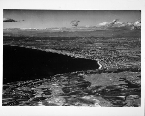 Aerial view facing north along the coast from the Palos Verdes