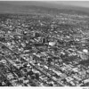 Aerial view, Wilshire Boulevard, Koreatown, Ambassador Hotel, Wiltern Theater, Wilshire Boulevard Temple