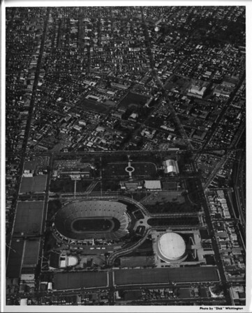 Aerial photo facing north over Exposition Park and the University of Southern California (USC) in central Los Angeles