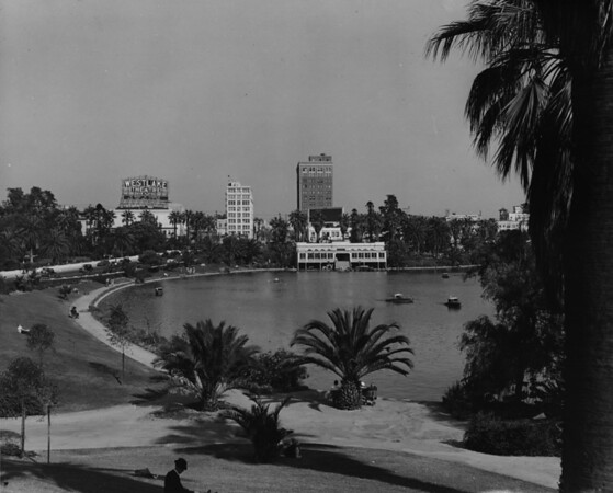 MacArthur Lake in MacArthur Park facing east towards Alvarado Street and the Westlake Theater