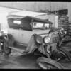 Wreck of star car at Mulford garage, Lynwood, CA, 1931