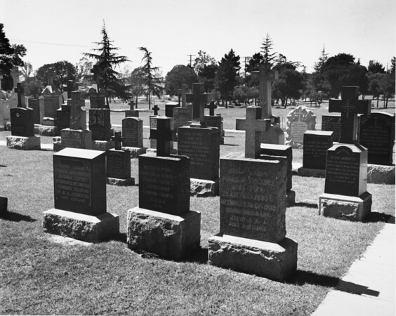 Many headstones within the cemetery