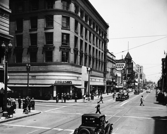 Eagleson's Dept Store on the corner of Spring Street and Third Street looking north