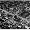 Aerial view facing north over Douglas Park and Wilshire Boulevard and Twenty-fifth Street in Santa Monica. Union Bank, lawn bowling green, tennis courts