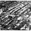 Aerial view facing north over Wilshire Boulevard and Swall Drive in Beverly Hills