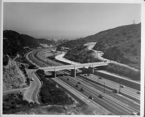 A high-angle view of the I-101 Freeway in the area of the Hollywood Bowl