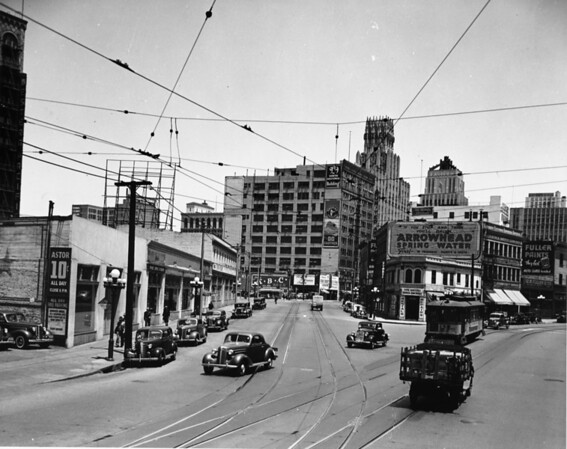 In Downtown Los Angeles facing north on South Main Street at Broadway Place