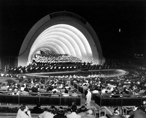 A choir singing at the Hollywood Bowl