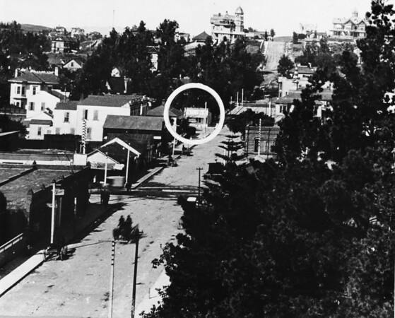The circle on this photo shows the southwest corner of Fourth Street and Broadway (looking west on Fourth Street to Broadway)