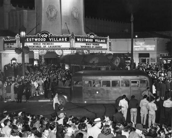 "A huge crowd is gathered around the Fox Westwood Village as it premiered the ""Adventures of Casanova"""