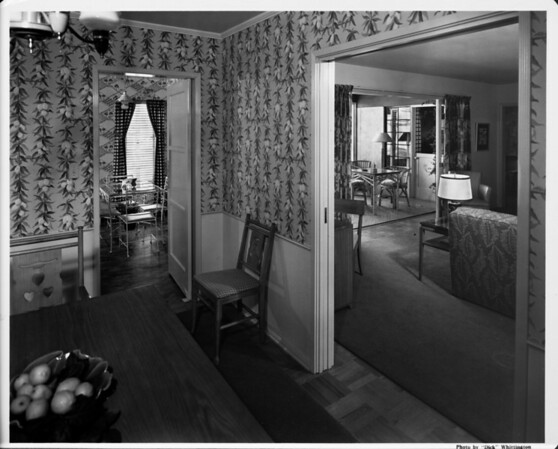 Home interior of 1948, living room, dining room