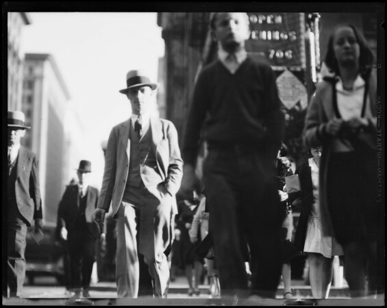 Crowds at 7th Street and Broadway, Los Angeles, CA, 1930
