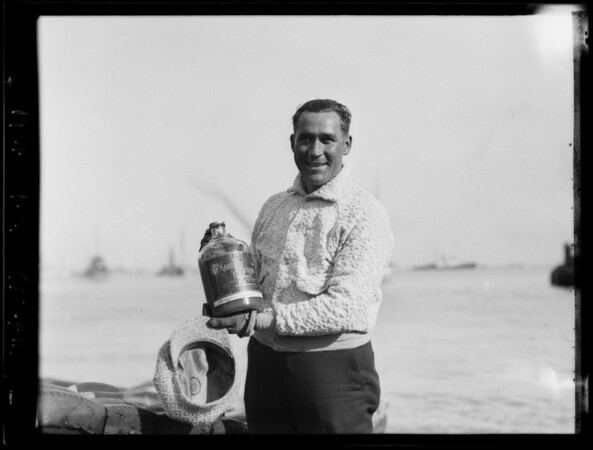 """Catalina Channel swim, """"Happy Jack"""" Wolyniec, California Crushed Fruit Co., Southern California, 1927"""