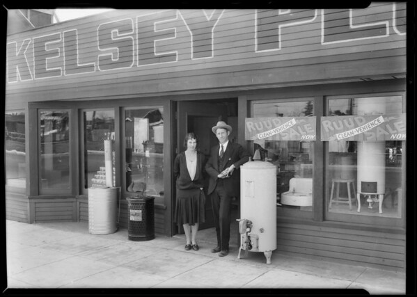Kelsey plumbing shop, 1438 West Slauson Avenue, Los Angeles, CA, 1930
