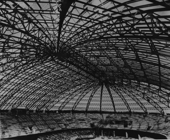 Interior construction of domed building, possibly Sports Arena