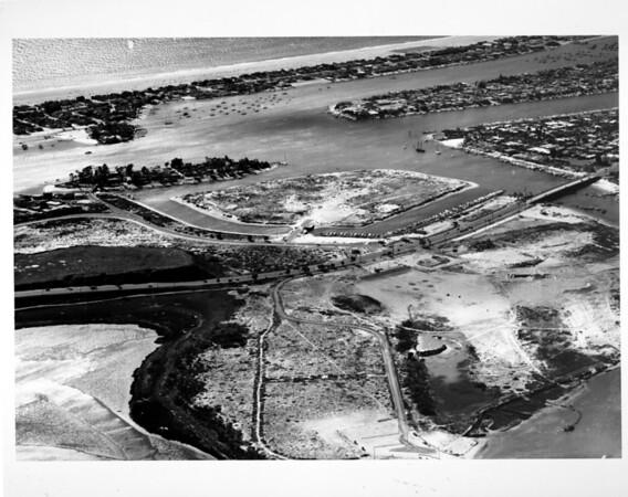 Aerial view looking southwest of Lido Isle in Newport Beach