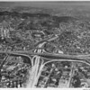 Aerial view, Interchange between Harbor Freeway and Hollywood Freeway, Downtown Los Angeles