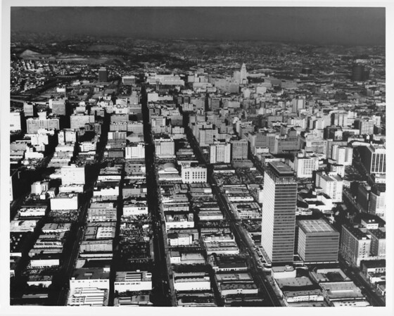 Aerial view, Downtown Los Angeles, Grand Avenue, Bunker Hill