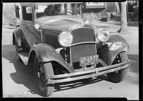 Dodge car, Veiga, assured, Southern California, 1929