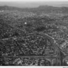 Aerial view over Hollywood Freeway as it stretches northwest between Echo Park and Westlake