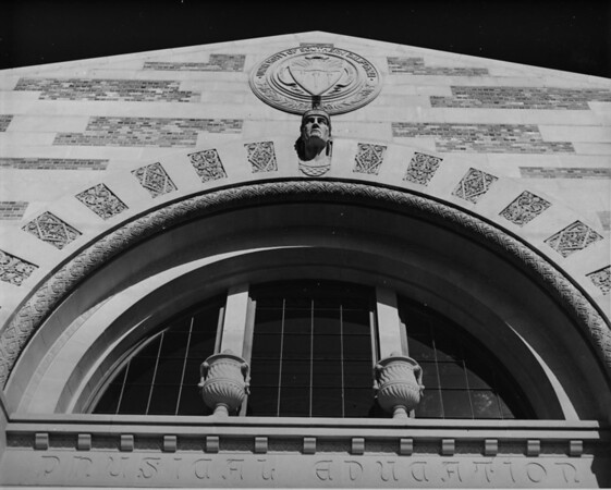 View of the architecture for the upper half of the entrance to the physical education building on the University of Southern California (USC) campus