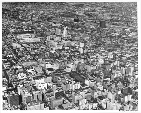 Aerial view of downtown Los Angeles looking north and east from Seventh Street, Pershing Square, Civic Center