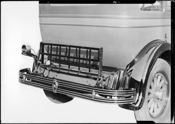 Folding trunk rack on Studebaker, Southern California, 1928