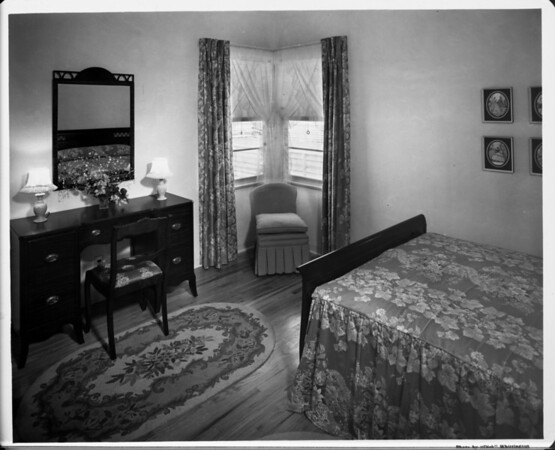 Furnished by Bullock's, bedroom interior of 1948