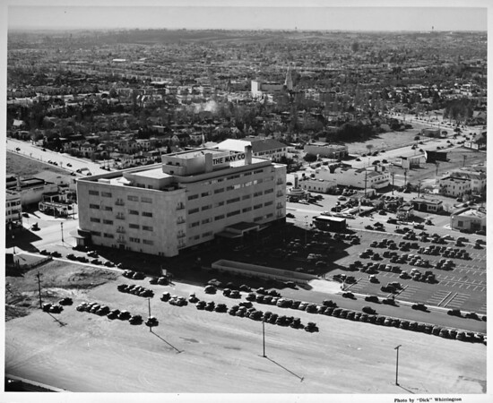Aerial view, May Company Store, Wilshire Boulevard, just south of Park La Brea. Miracle Mile
