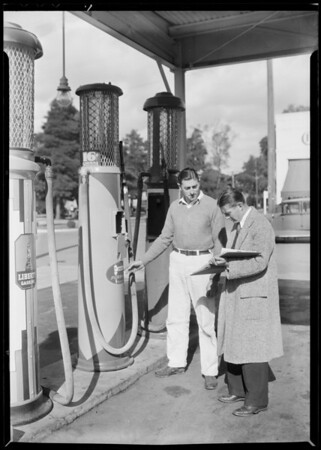 Service station owner uses Signal gas, Southern California, 1932