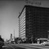 Wilshire Boulevard facing west -- the Gaylord Apartments, Sally's Home Made Cuisine, Richfield Produce, KFAC Studios, Wilshire Boulevard Temple, Ambassador Hotel is to the left