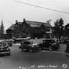 Northwest corner of Wilshire Bouelvard and Vermont Avenue, corner flower stand and church