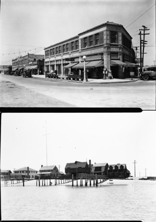 Shops and homes near and on the beach at Newport Beach, California, in Orange County