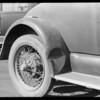 Ford coupe, license #6M-26-1, dent in rear fender, Southern California, 1929