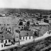 Early photo facing east towards the Pio Pico House (just south of the Plaza) in Downtown Los Angeles