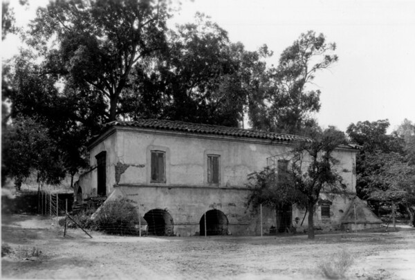 A side view of the Old Mill (El Molino Viejo)