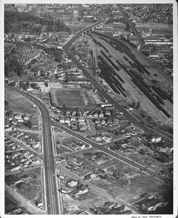 Aerial view of North Broadway, I-110 Freeway, SPTCO Main Freight Yard