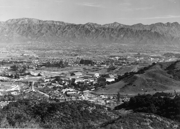 Looking east over the Universal City Studios toward Burbank and the Verdugo Mountains