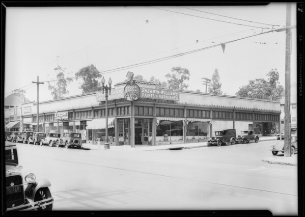 Building at West 7th Street and Valencia Street, also traffic, Los Angeles, CA, 1929