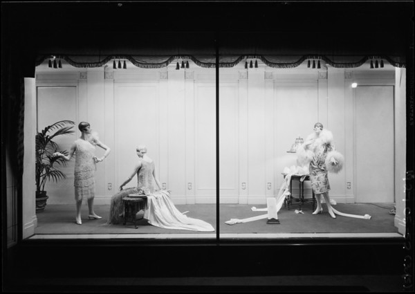Windows, evening gowns, bedding, luggage, cigarettes, J.W. Robinson Co., Southern California, 1927