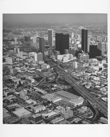 Aerial view of downtown Los Angeles looking north on the Harbor Freeway from Ninth Street