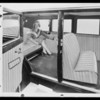 Composite with seat covers & Sally Blane, Southern California, 1930
