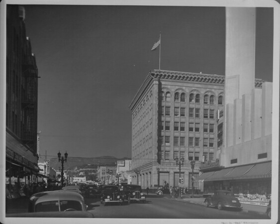 A corner view of the Security First National Bank from Hollywood Boulevard and Cahuenga Boulevard