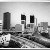 Highrise towers under construction in downtown Los Angeles