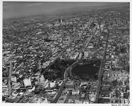 Aerial view of MacArthur Park looking east towards downtown Los Angeles