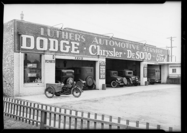 Interiors and exteriors of garage, 1212 West Slauson Avenue, Los Angeles, CA, 1932